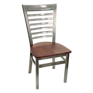 New Gladiator Clear Coat Full Ladder Back Metal Restaurant Chair W Walnut Seat