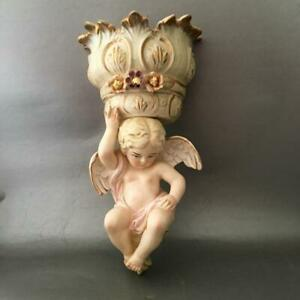Shabby Vtg Chic Porcelain Cherub W Flower Basket Sconce Vase Wall Pocket Planter