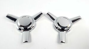 Pair 2 3 Bar Chrome Metal Spinners Classic Universal Tri Bar Straight Arm
