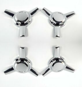 Set Of 4 3 Bar Chrome Metal Spinners Classic Universal Tri Bar Straight Arm