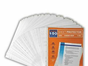 150 Sleeves Clear Plastic Sheet Page Protectors Document Office Ring Binder New