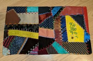 Antique American Crazy Quilt Pillow Sham Embroidered
