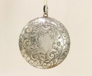 Antique Foster Bailey Sterling Gilt Powder Compact Pendant Chatelaine
