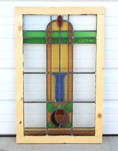 Large Antique English Stained Glass Window Art Deco 9 Color Leaded Reframed