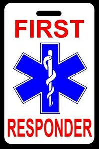 First Responder Luggage gear Bag Tag Free Personalization New
