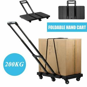 Foldable Extendable Hand Truck Trolley 6 Wheel Flat Luggage Cart With Handle Bp