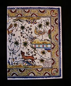 Old Ceramic Art Tile Portugal Garden Azulejos Bird Dog Hand Painted Signed Xvii
