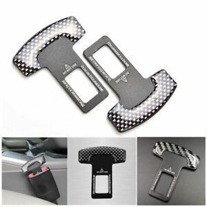 2piece Car Safety Seat Belt Buckle Alarm Stopper Clip Clamp Carbon Fiber