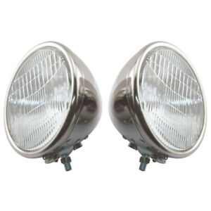 Model A Ford Headlights Complete Stainless Steel 2 Bulb Type Ford Script