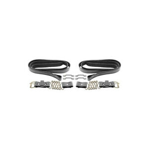 Model T Ford Hood Straps Black Leather Stainless Steel Springs Brass