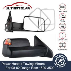 Pair Power Heated Led Signal Lights Towing Mirrors For 1998 2002 Dodge Ram
