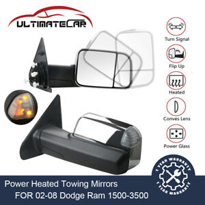 For 02 08 Dodge Ram 1500 2500 3500 Power Heated Turn Signal Chrome Towing Mirror