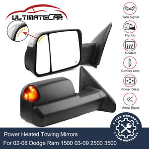 Pair Power Heated Signal Towing Mirrors For 02 08 Dodge Ram 1500 03 09 2500 3500