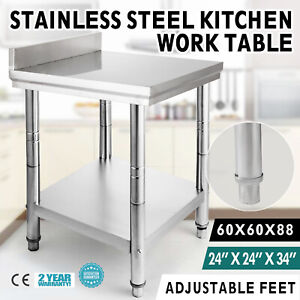24x24 Work Table With Backsplash Restaurant Adjustable Storage Bench Shelf
