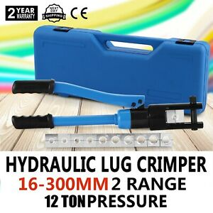 12 Ton Hydraulic Wire Terminal Crimper W 11 Dies Set 360 Crimping Cable