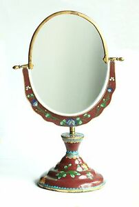 Antique Vintage Chinese Cloisonne Table Mirror