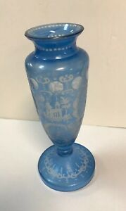 Antique Bohemian Blue Crystal Footed Vase Etched Cut To Clear Castle