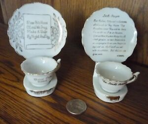 Vintage Miniature Cup And Saucer Lot Of 2 The Lord S Prayer Bless This House