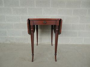 Colonial Furniture Mahogany 1 Drawer Drop Side Entry Hall Occasional Table