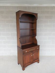 L Hitchcock Harvest Stenciled 2pc Bookcase Cabinet