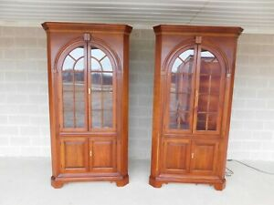 Statton New Market Chippendale Style Lighted Cherry Corner Cabinets A Pair