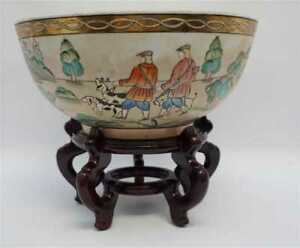 Rare Antique 19th Century Chinese Export Porcelain Punch Bowl 12 Hunting Scenes