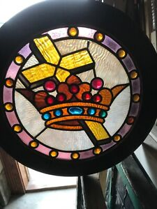 Sg 2897 Antique Round Jeweled Stainglass Window Crown And Cross 17 Inch