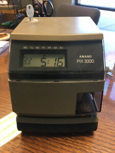 Amano Pix 3000 Time Stamp Clock Date Time Includes Key