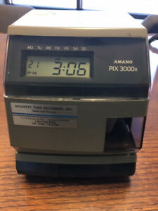 Amano Pix 3000x Time Clock Date And Time Works No Key