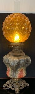 Incredibly Rare Consolidated Glass Elephant Base Gwtw Electrified Kerosene Lamp