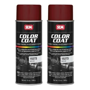 Sem 15273 Color Coat Napa Red Spray Paint Aerosol Can 12 Oz 2 Cans