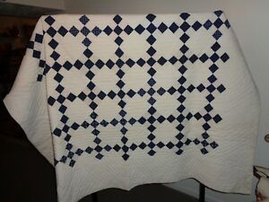 Primitive Antique Blue White Farmhouse Quilt