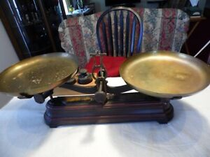 Antique Force Cast Iron 10 Kg Balance Scale With Brass Trays 11 Weights W Box