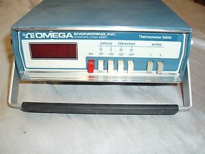Omega Portable Thermometer 5800 5800 02 19240 Battery 2 Thermister Probe Inputs