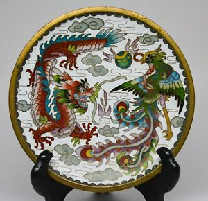 Vintage Chinese Dragon Phoenix Cloisonn Plate 6 Inches Wide Marked