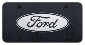 Black License Plate W Ford Oval Emblem licensed Laser Etched Premium Design