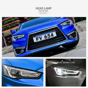 Audi Style Headlights Fit Mitsubishi Lancer Evo 2008 2017 Black Housing