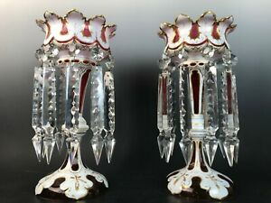 Antique Bohemian Moser Overlay Cranberry Glass Luster Pair Mantle Lustres Prisms