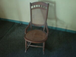Antique Wicker And Wood Rocking Chair Charming Piece 33 X 27 X 19