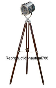 Vintage Industrial Spot Light Floor Lamp With Wooden Tripod Stand Handmade Lamp