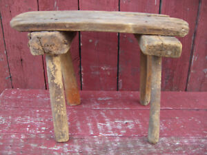 Vintage Primitive Wood Tobacco Stripping Stool Very Cool 1 Of A Kind