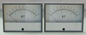 A Pair Analog Vu A t Meter 119da Plastic Cover Middle Size Vintage 1970 s