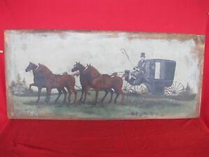 Antique Breadboard Large Folk Art Horse Carraige Country Primitive Painting