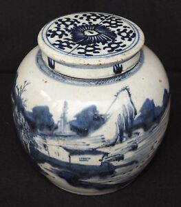 Antique Chinese Blue And White Porcelain Ginger Jar W Lid Fishing Village Art