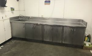 Custom Made Heavy Duty Stainless Steel Table Cabinet With Sink Backsplash