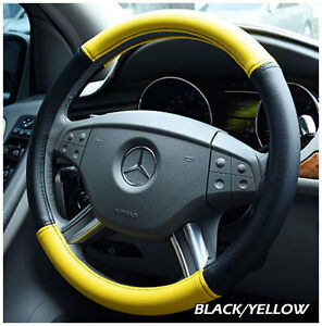 Iggee Black Yellow S Leather Premium High Quality Steering Wheel Cover 14 5