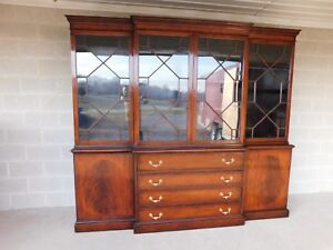 Antique Georgian Style Mahogany 2pc Breakfront Bookcase Cabinet 95 W