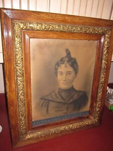 Outstanding Antique Gold Gilt Gesso 5 Wide Frame Victorian With Portrait