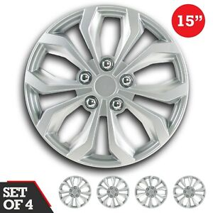 Set Of 4 Hubcaps 15 Wheel Cover Spa Silver Abs Easy To Install Universal Fit