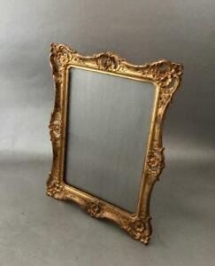Antique French Vtg Repousse Dore Gold Brass Table Easel Picture Frame W Glass
